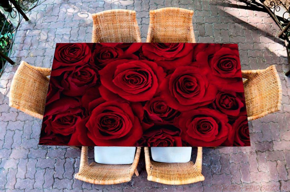 Наклейка на стол - Красные розы