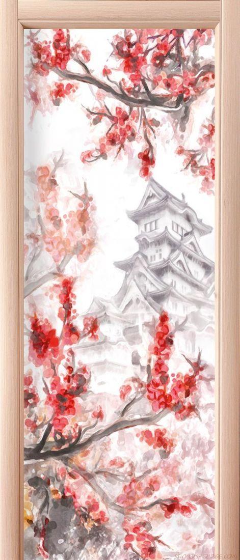 Наклейка на дверь - Сакура