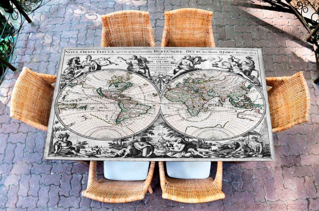 Наклейка на стол - Известный мир