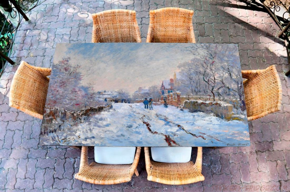 Наклейка на стол - Снег в Аржантее