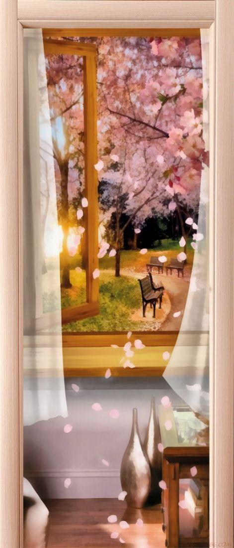 Наклейка на дверь - Два шага до лета